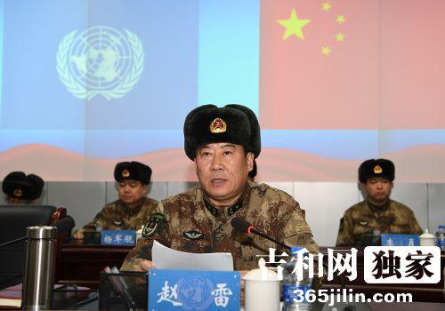 78集团军政委赵雷少将在成立大会上希望维和队员们努力为国争光,平?#37096;?#26059;