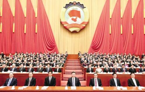 3月13日,中国人民政治协商会议第十三届全国委员会第二次会议在北京闭幕。这是习近平、李克强、栗战书、王沪宁、赵乐际、韩正、王岐山等在主席台就座 新华社记者 黄敬文 摄