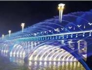 长春南湖大桥音乐喷泉试喷水