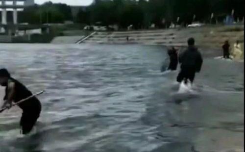 """二龙湖开闸泄洪,惊现""""流鱼""""奇观 村民闻讯:捡鱼 警方提示:危险"""