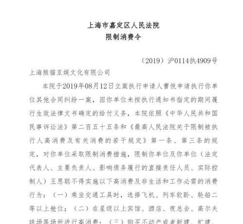 """王思聪成""""老赖""""被限制高消费 以后不能坐飞机出行"""