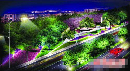 北亚泰大街城市出入口彩化亮化效果图