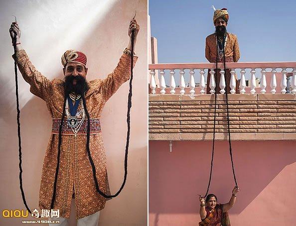 吉尼斯纪录世界上最长的胡子4英尺长(约4.26米)