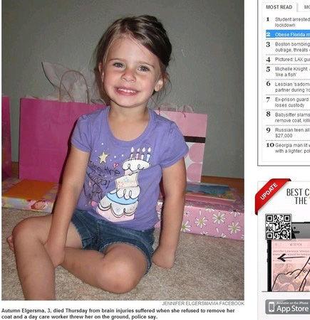 美国3岁女童不想脱外套 被托儿所长活活摔死