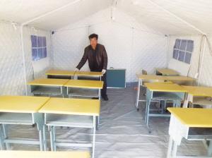 """松原震区部分已建彩钢房 小学生可""""帐篷小学""""上课"""